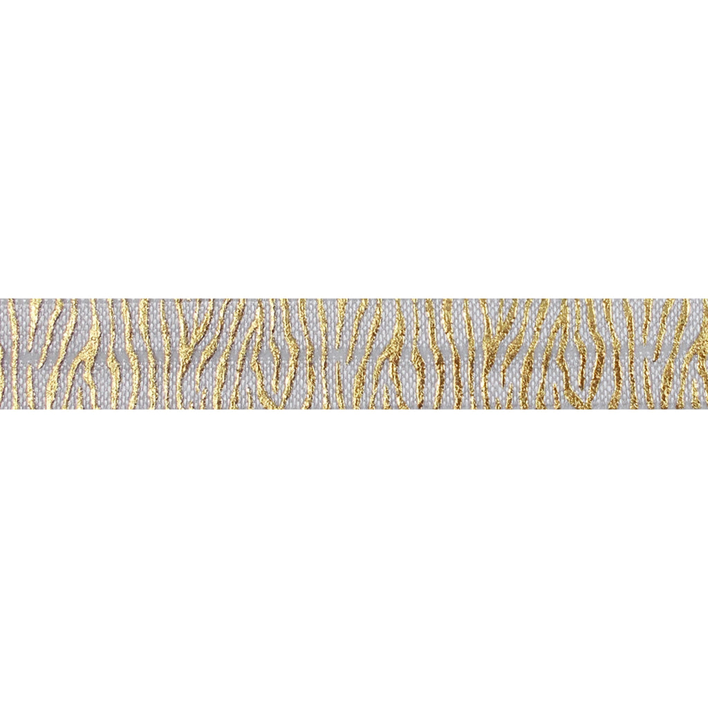 "White & Gold Zebra Stripes - 5/8"" Metallic Printed Fold Over Elastic"