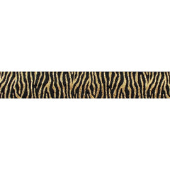 "Black & Gold Zebra Stripes - 5/8"" Metallic Printed Fold Over Elastic"