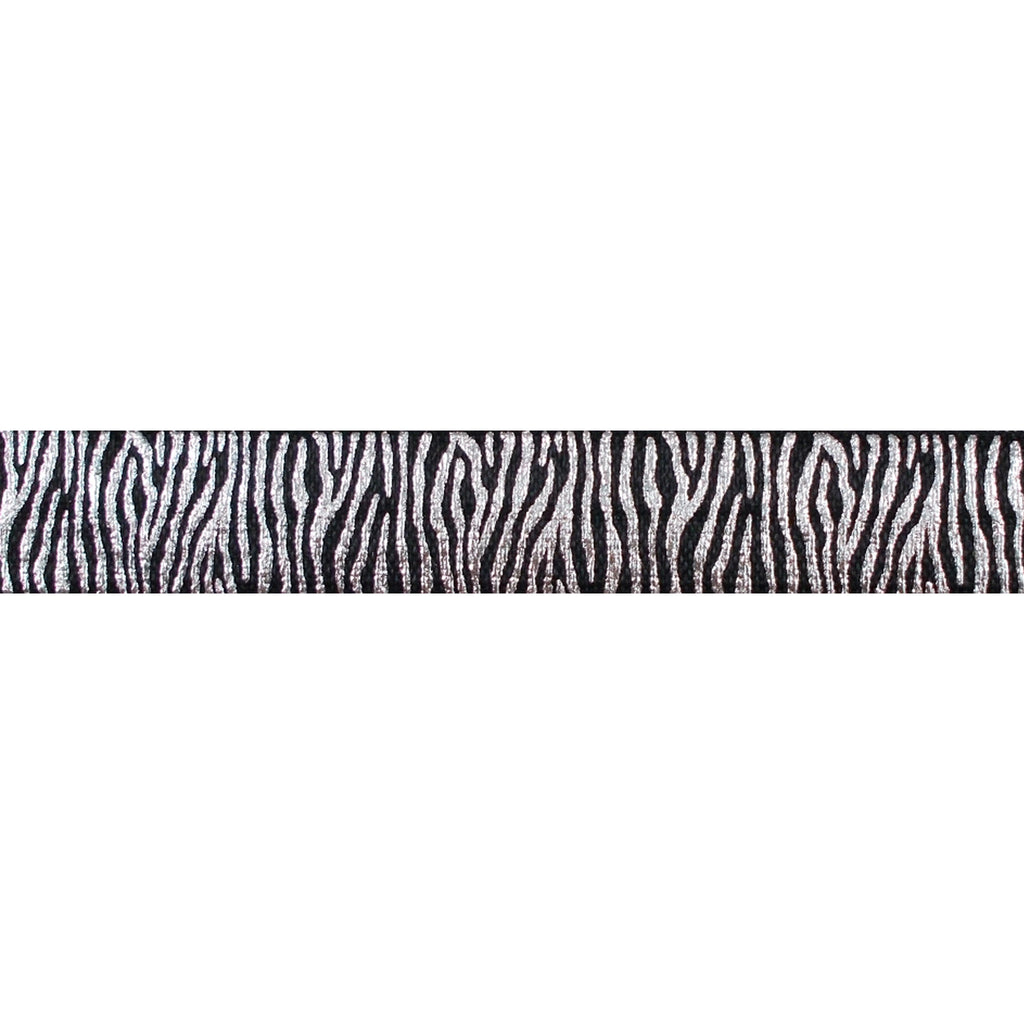 "Black & Silver Zebra Stripes - 5/8"" Metallic Printed Fold Over Elastic"