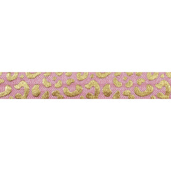 "Ballerina Pink & Gold Cheetah - 5/8"" Metallic Printed Fold Over Elastic"