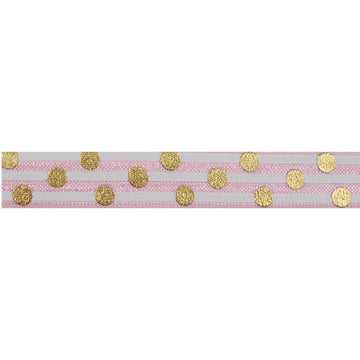 "Ballerina Pink + Gold Polka Stripes - 5/8"" Metallic Printed Fold Over Elastic"