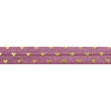 "Mauve + Gold Hearts - 5/8"" Metallic Printed Fold Over Elastic"