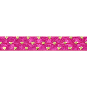 "Hot Pink + Gold Hearts - 5/8"" Metallic Printed Fold Over Elastic"