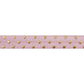 "Ballerina Pink + Gold Hearts - 5/8"" Metallic Printed Fold Over Elastic"