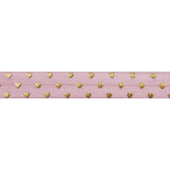 "Ballerina Pink & Gold Hearts - 5/8"" Metallic Printed Fold Over Elastic"