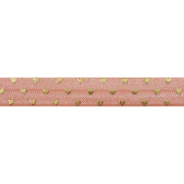 "Light Peach + Gold Hearts - 5/8"" Metallic Printed Fold Over Elastic"