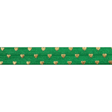"Green & Gold Hearts - 5/8"" Metallic Printed Fold Over Elastic"