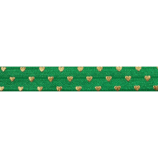 "Green + Gold Hearts - 5/8"" Metallic Printed Fold Over Elastic"