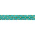 "Aquamarine + Gold Hearts - 5/8"" Metallic Printed Fold Over Elastic"