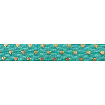 "Aquamarine & Gold Hearts - 5/8"" Metallic Printed Fold Over Elastic"