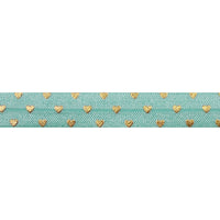 "Sea Foam + Gold Hearts - 5/8"" Metallic Printed Fold Over Elastic"