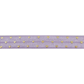 "Lavender & Gold Hearts - 5/8"" Metallic Printed Fold Over Elastic"