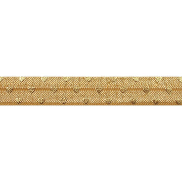 "Gold & Gold Hearts - 5/8"" Metallic Printed Fold Over Elastic"