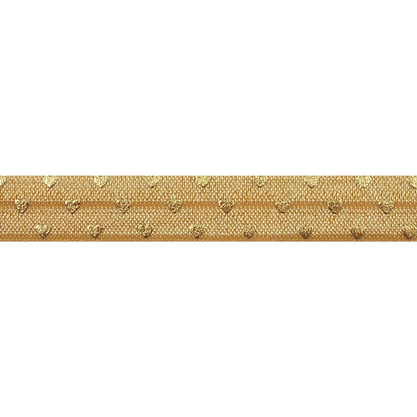 "Gold + Gold Hearts - 5/8"" Metallic Printed Fold Over Elastic"