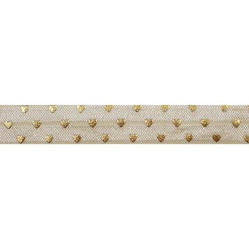 "Cream & Gold Hearts - 5/8"" Metallic Printed Fold Over Elastic"