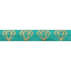 "Aquamarine & Gold Diamonds - 5/8"" Metallic Printed Fold Over Elastic"