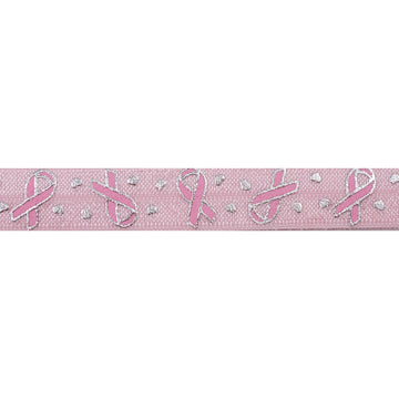"Ballerina Pink & Pink Ribbon - Breast Cancer Awareness - 5/8"" Metallic Printed Fold Over Elastic"