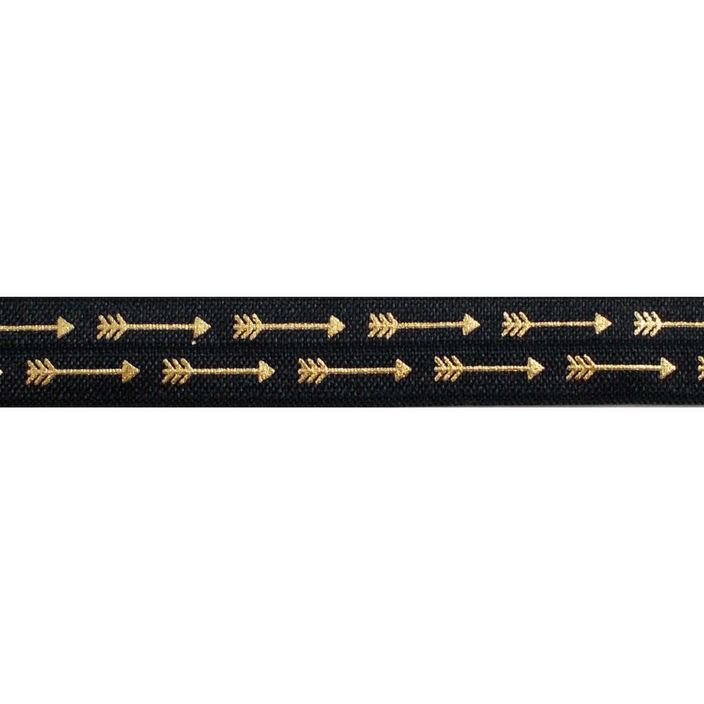 "Black & Gold Straight Arrows - 5/8"" Metallic Printed Fold Over Elastic"