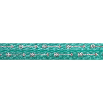 "Aquamarine & Silver Straight Arrows - 5/8"" Metallic Printed Fold Over Elastic"