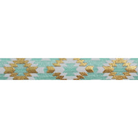 "Sea Foam & Gold Southwestern Aztec - 5/8"" Metallic Printed Fold Over Elastic"