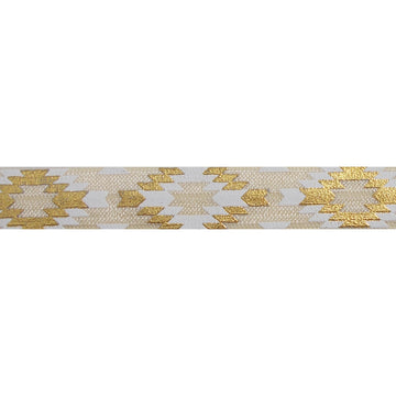 "Cream & Gold Southwestern Aztec - 5/8"" Metallic Printed Fold Over Elastic"