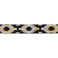 "Black & Gold Southwestern Aztec - 5/8"" Metallic Printed Fold Over Elastic"
