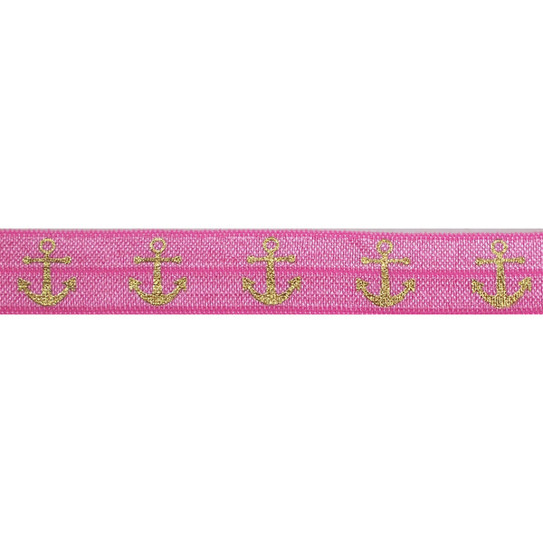 "Pink & Gold Anchors - 5/8"" Metallic Printed Fold Over Elastic"