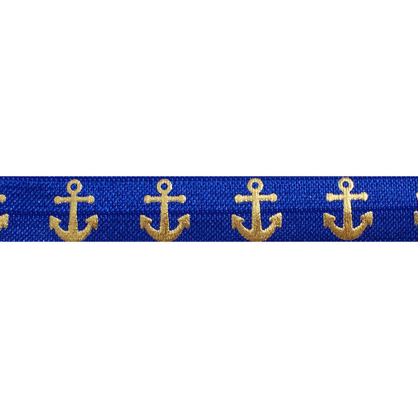 "Royal Blue & Gold Anchors - 5/8"" Metallic Printed Fold Over Elastic"