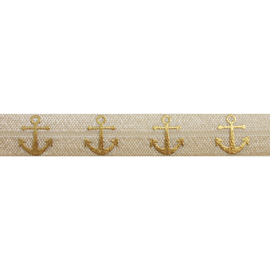 "Cream & Gold Anchors - 5/8"" Metallic Printed Fold Over Elastic"