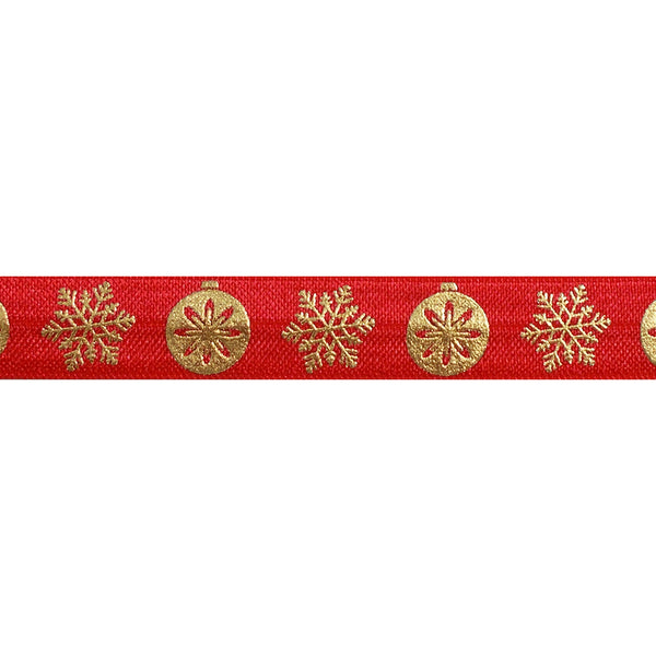 "Red & Gold Ornaments - 5/8"" Metallic Printed Fold Over Elastic"