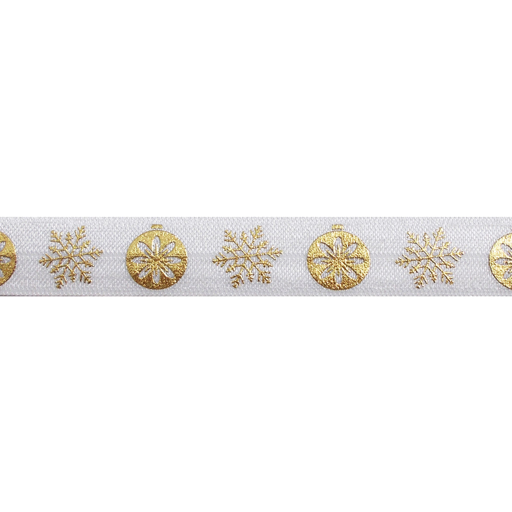 "White & Gold Ornaments - 5/8"" Metallic Printed Fold Over Elastic"