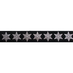 "Black & Silver Snowflakes - 5/8"" Metallic Printed Fold Over Elastic"