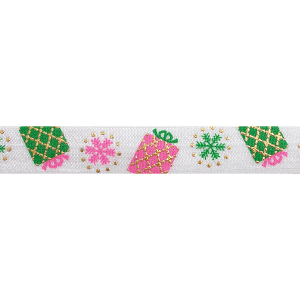 "Sweetest Gift - 5/8"" Metallic Printed Fold Over Elastic"