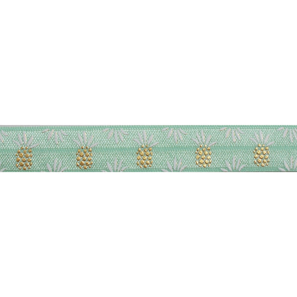 "Mint & Gold Pineapples - 5/8"" Metallic Printed Fold Over Elastic"