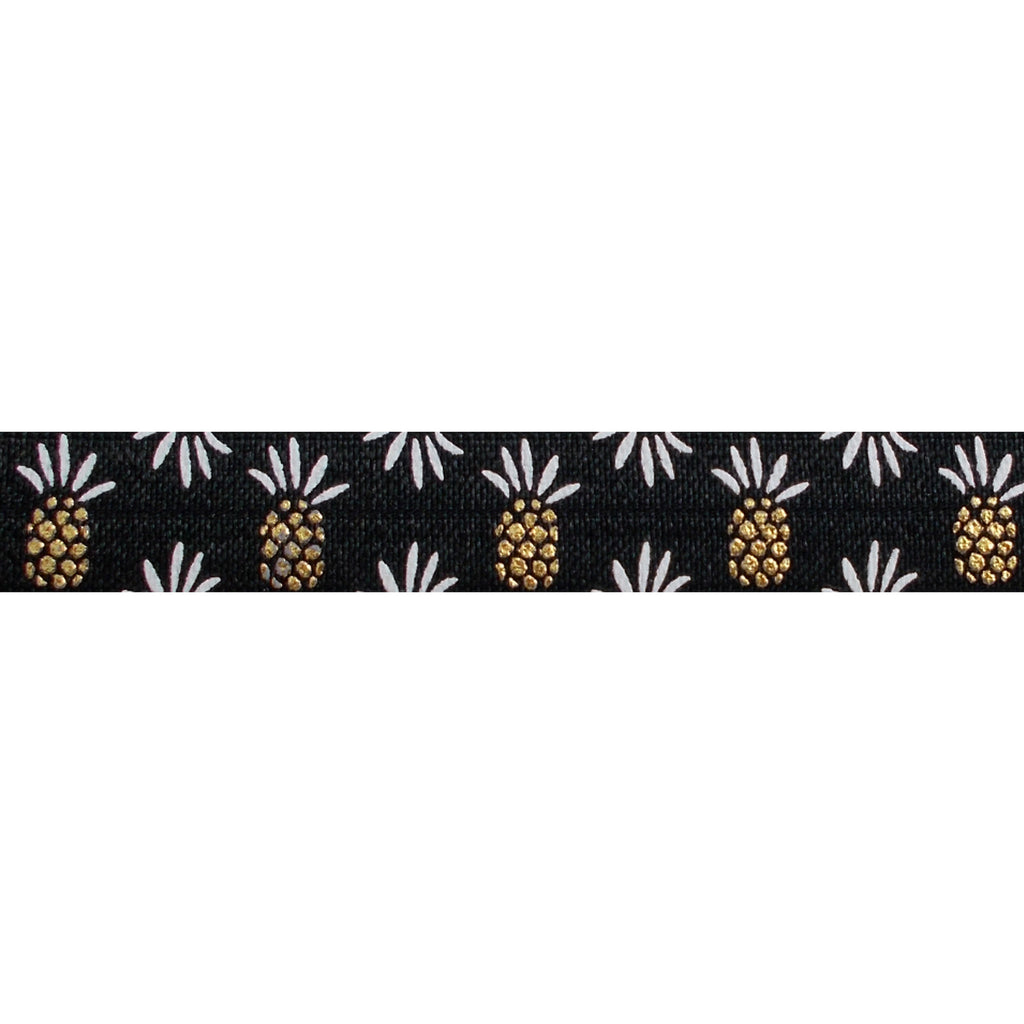 "Black & Gold Pineapples - 5/8"" Metallic Printed Fold Over Elastic"