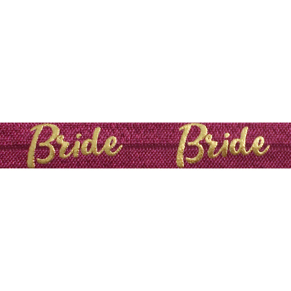 "Wineberry & Gold Bride - 5/8"" Metallic Printed Fold Over Elastic"