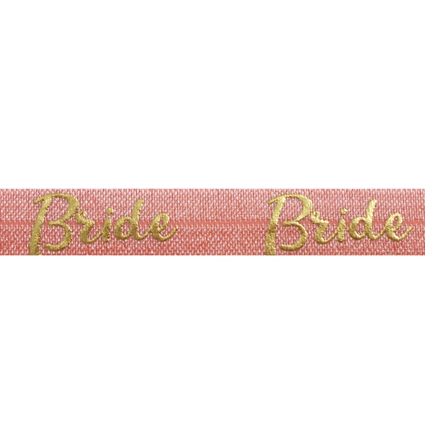 "Coral Peach & Gold Bride - 5/8"" Metallic Printed Fold Over Elastic"