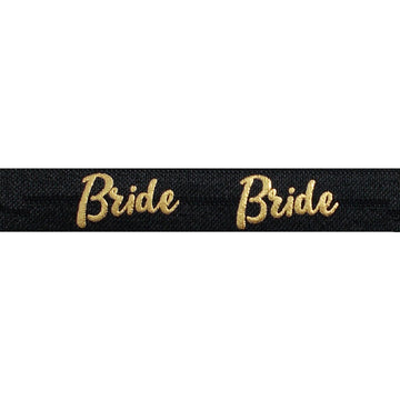 "Black & Gold Bride - 5/8"" Metallic Printed Fold Over Elastic"