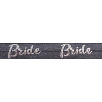 "Charcoal Gray & Silver Bride - 5/8"" Metallic Printed Fold Over Elastic"