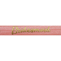 "Coral Peach & Gold Bridesmaid - 5/8"" Metallic Printed Fold Over Elastic"