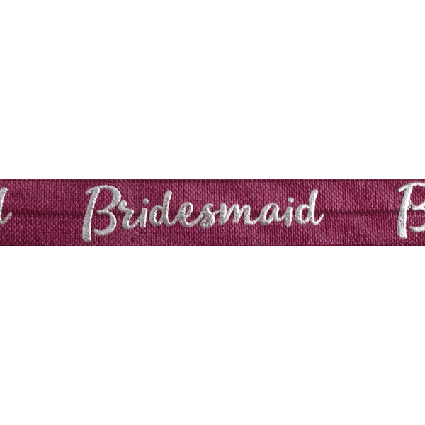 "Wineberry & Silver Bridesmaid - 5/8"" Metallic Printed Fold Over Elastic"