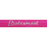 "Hot Pink & Silver Bridesmaid - 5/8"" Metallic Printed Fold Over Elastic"