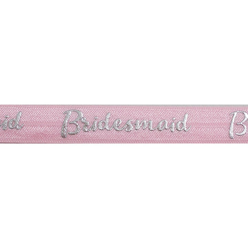 "Ballerina Pink & Silver Bridesmaid - 5/8"" Metallic Printed Fold Over Elastic"
