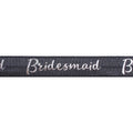 "Charcoal Gray & Silver Bridesmaid - 5/8"" Metallic Printed Fold Over Elastic"