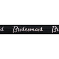 "Black & Silver Bridesmaid - 5/8"" Metallic Printed Fold Over Elastic"