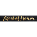 "Black & Gold Maid of Honor - 5/8"" Metallic Printed Fold Over Elastic"