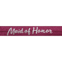 "Wineberry & Silver Maid of Honor - 5/8"" Metallic Printed Fold Over Elastic"