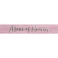 "Ballerina Pink & Silver Maid of Honor - 5/8"" Metallic Printed Fold Over Elastic"