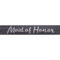 "Charcoal Gray & Silver Maid of Honor - 5/8"" Metallic Printed Fold Over Elastic"