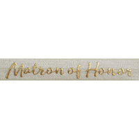"Ivory & Gold Matron of Honor - 5/8"" Metallic Printed Fold Over Elastic"